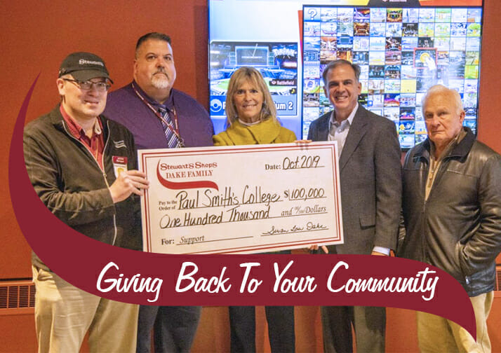 100 thousand dollar check presentation to Paul Smiths college. 5 people featured