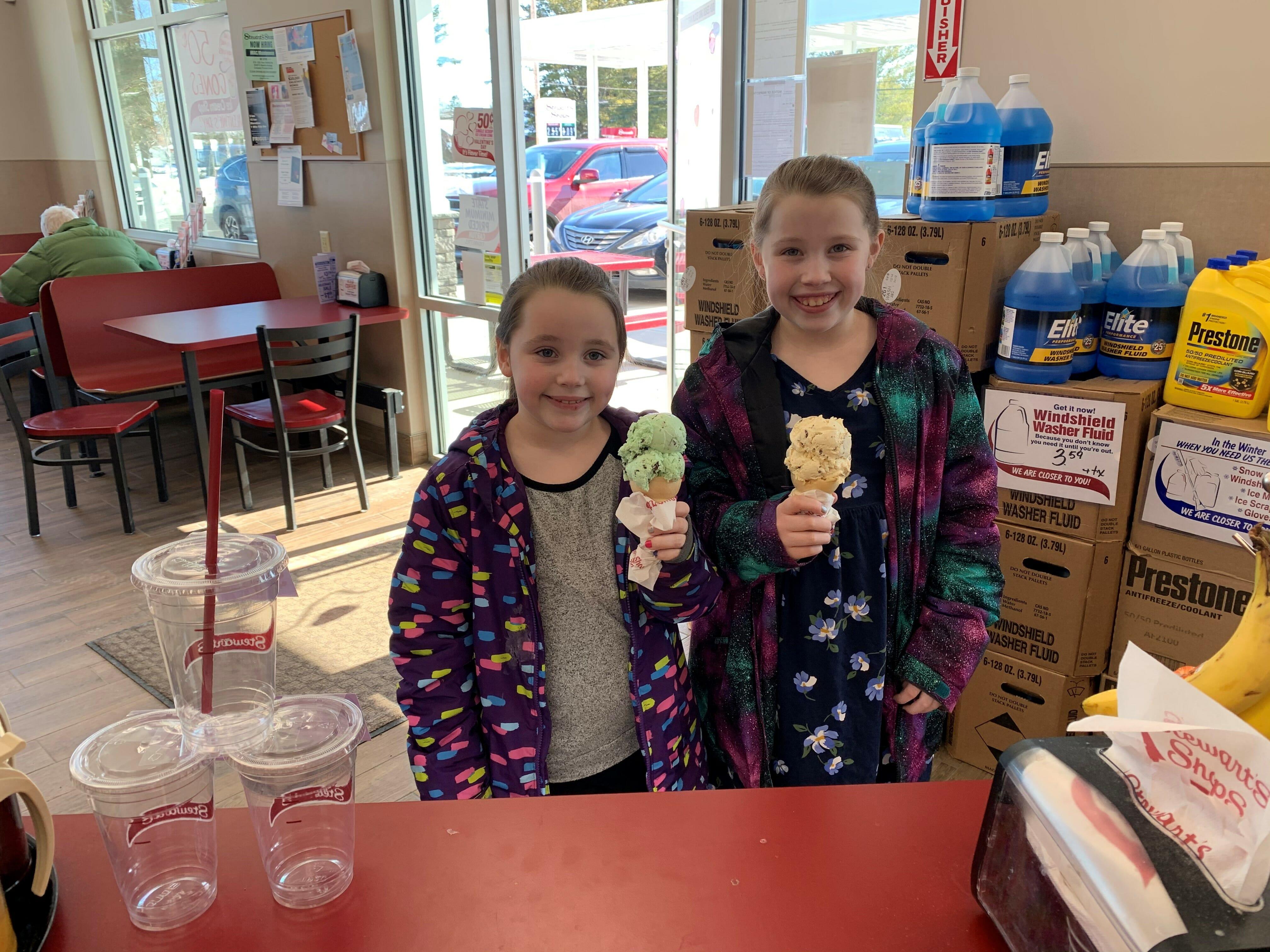 Two girls having ice cream cones