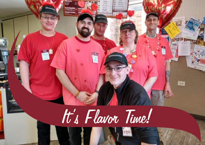 Group shot of partners in red and pink with the words It's Flavor Time on the photo.