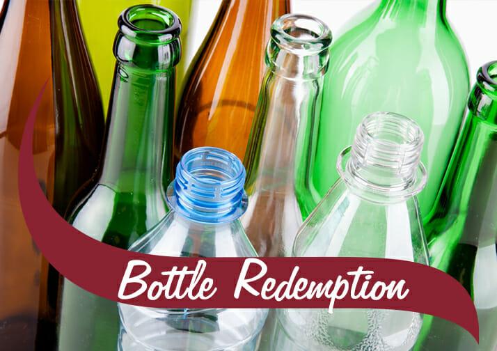 Bottle redemption empty bottles pictured