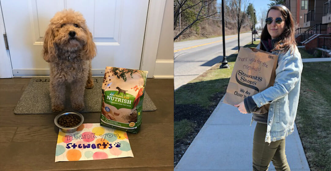 A puppy by a bag of dog food and a sign that says thank you stewarts. split screen with a woman holding a stewarts paper bag with thank you for the essentials written on the bag.