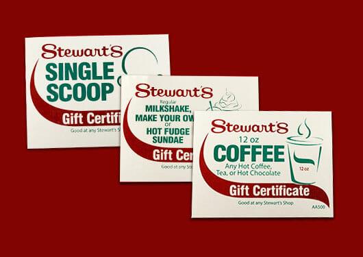 Stewarts gift certificates for coffee, single scoop cone, milkshake and sundae