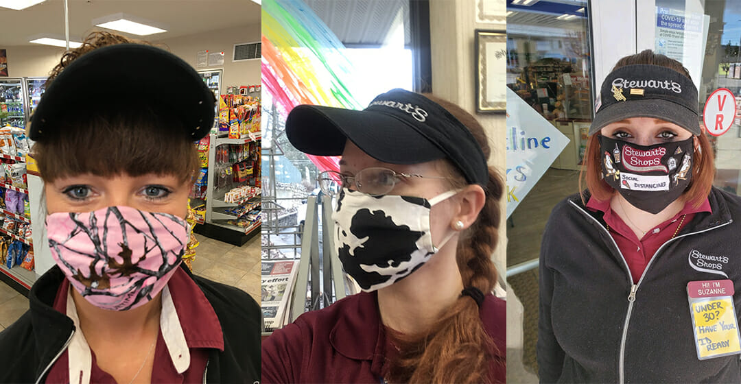 three partners with masks