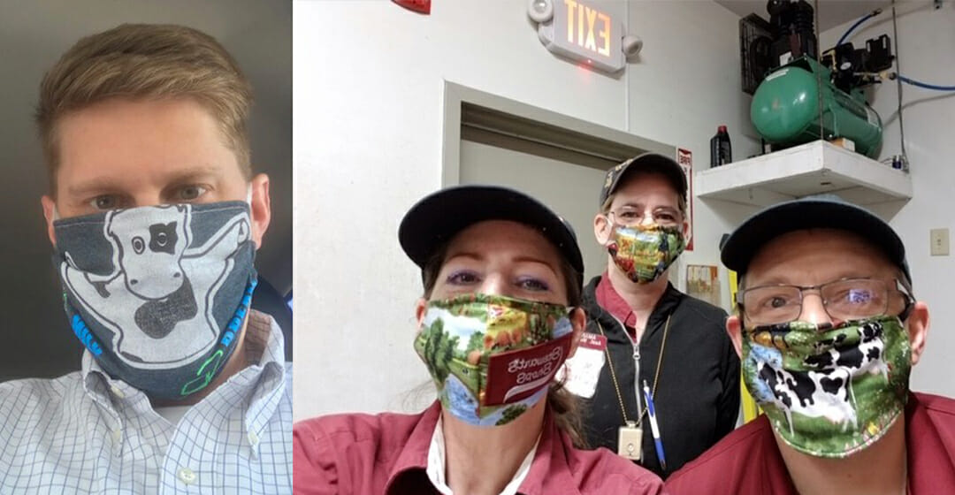 three partners and one district manager in mask