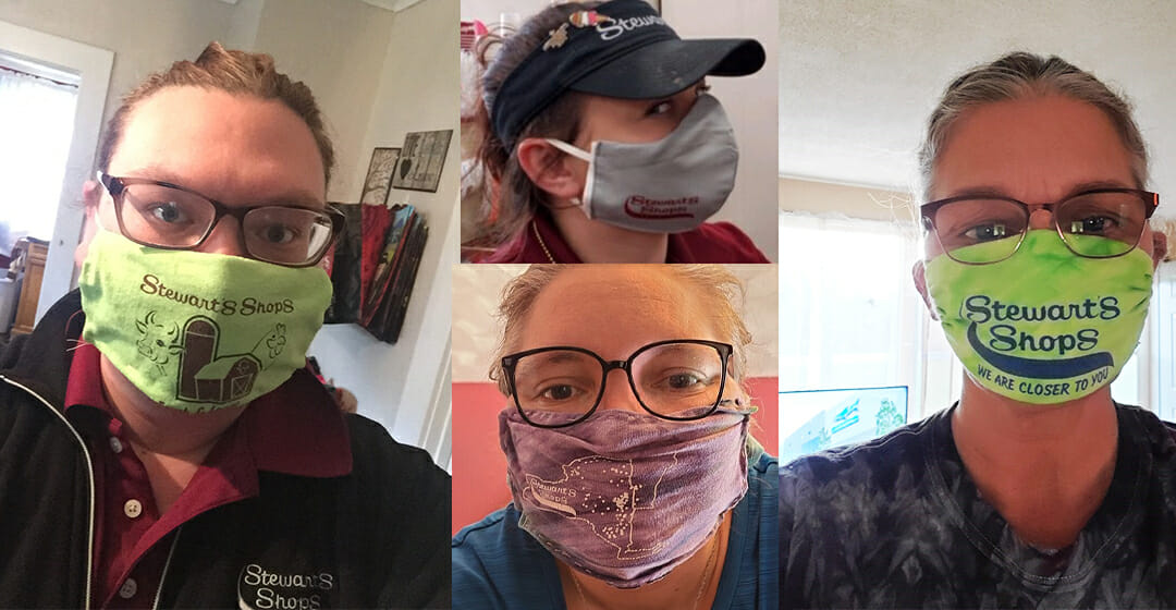 four partners with masks
