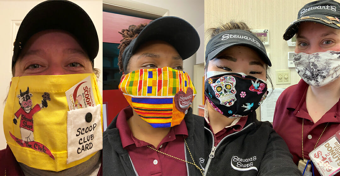 four partners with creative masks