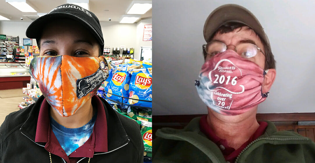 two partners with masks
