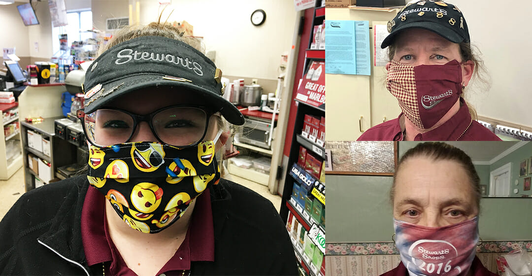 three partners with masks with stewart's themed masks