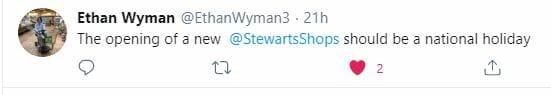 Tweet about New Stewart's Shop
