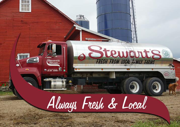 Stewarts milk truck at a farm. Always fresh and local