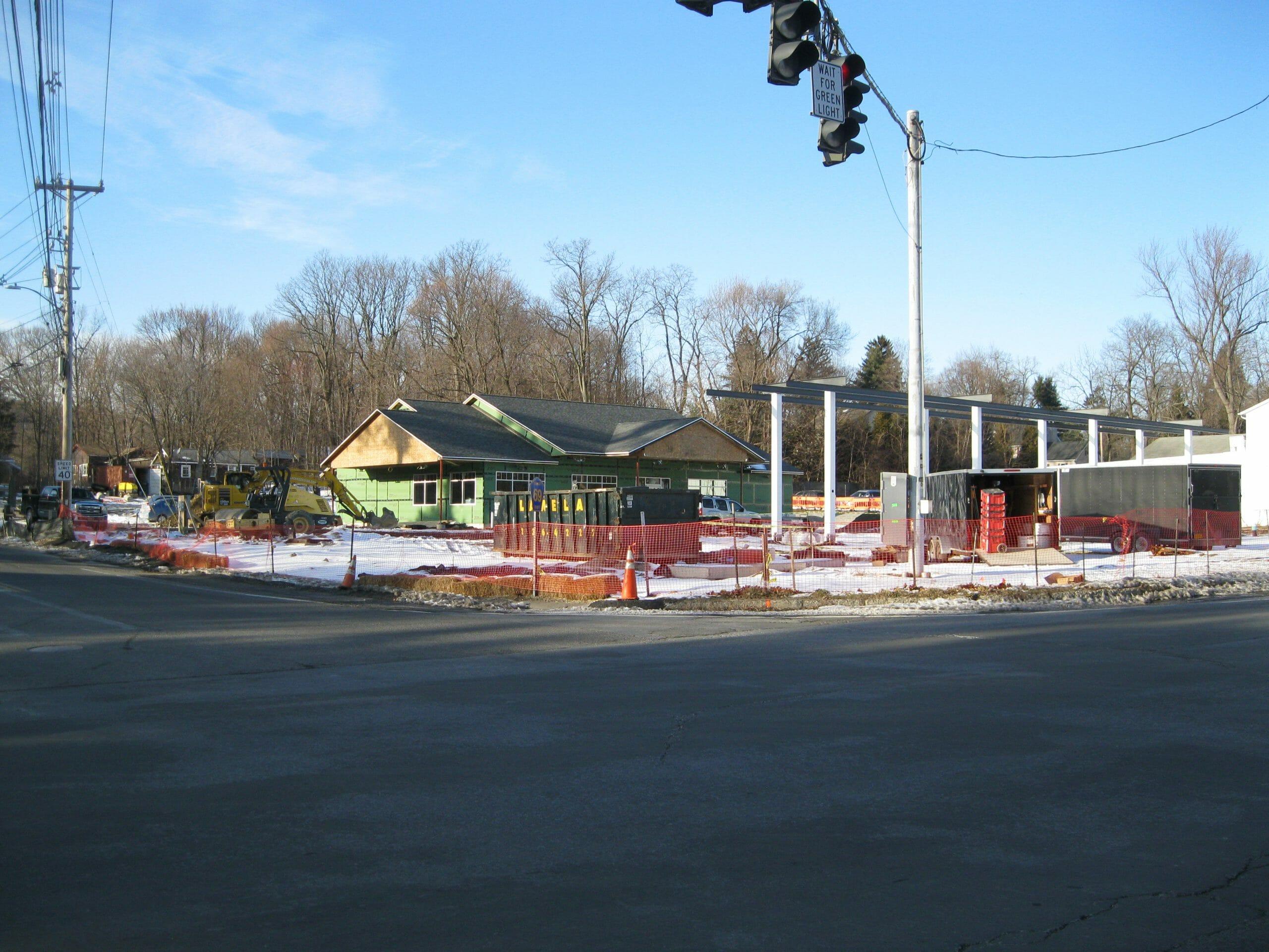 construction site of stewart's shop