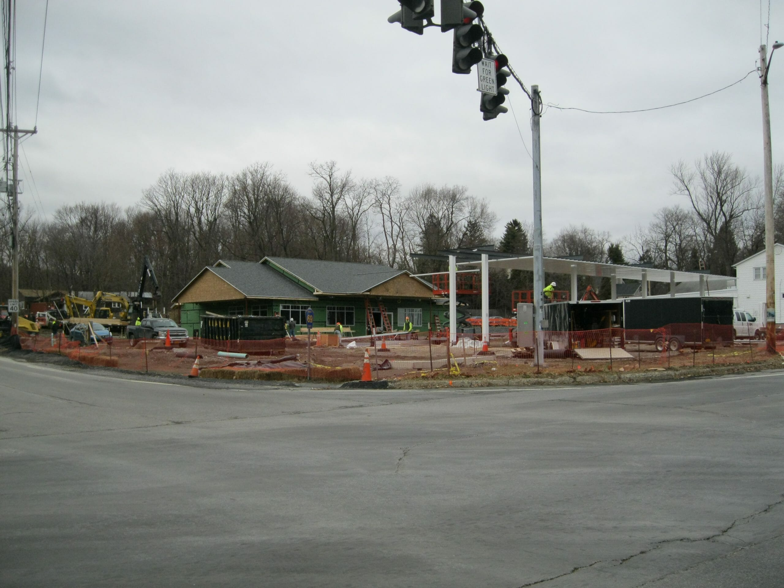 Stewart's shop construction site of store and gas pumps