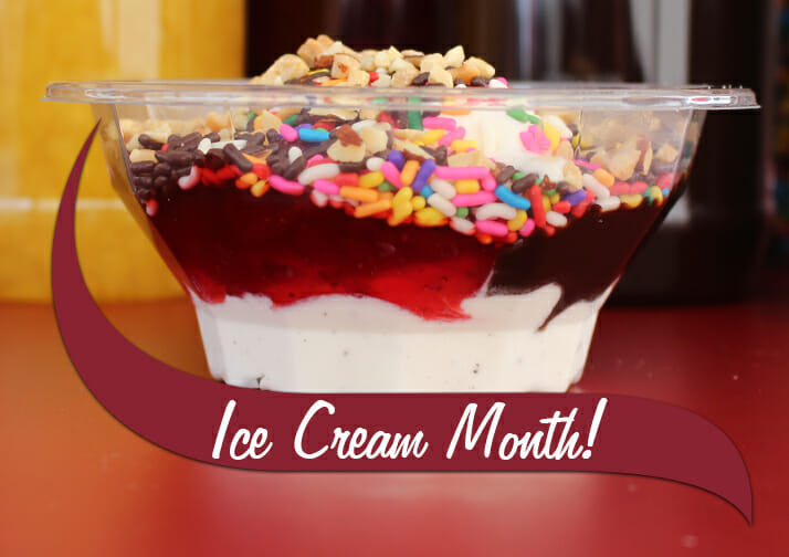 A make your own sundae with the text Ice Cream Month