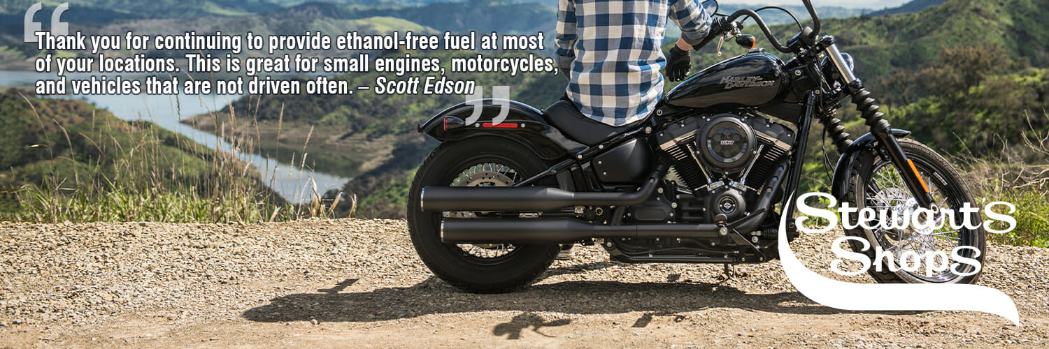 motorcycle in front of mountain, Thank you for continuing to provide ethanol-free fuel at most of your locations. This is great for small engines, motorcycles, and vehicles that are not driven often. – Scott Edson