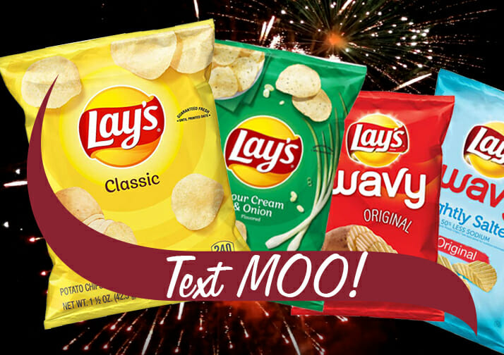 text moo! lays chips