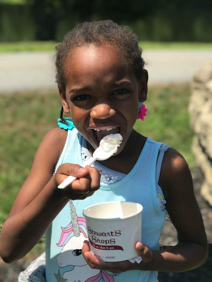 Camper eating ice cream