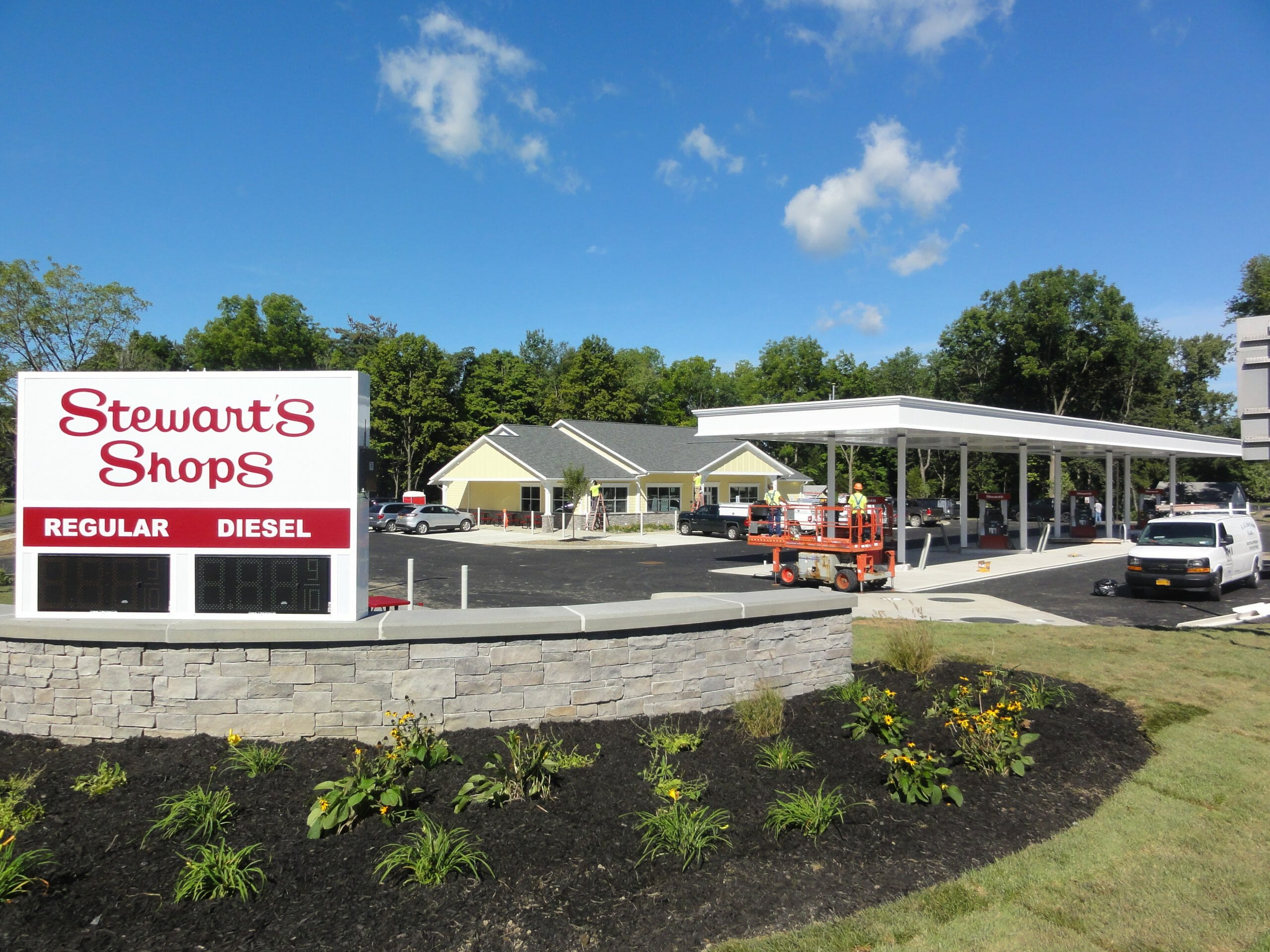 Stewart's Shop in Schodack, NY showing gas island and shop exterior