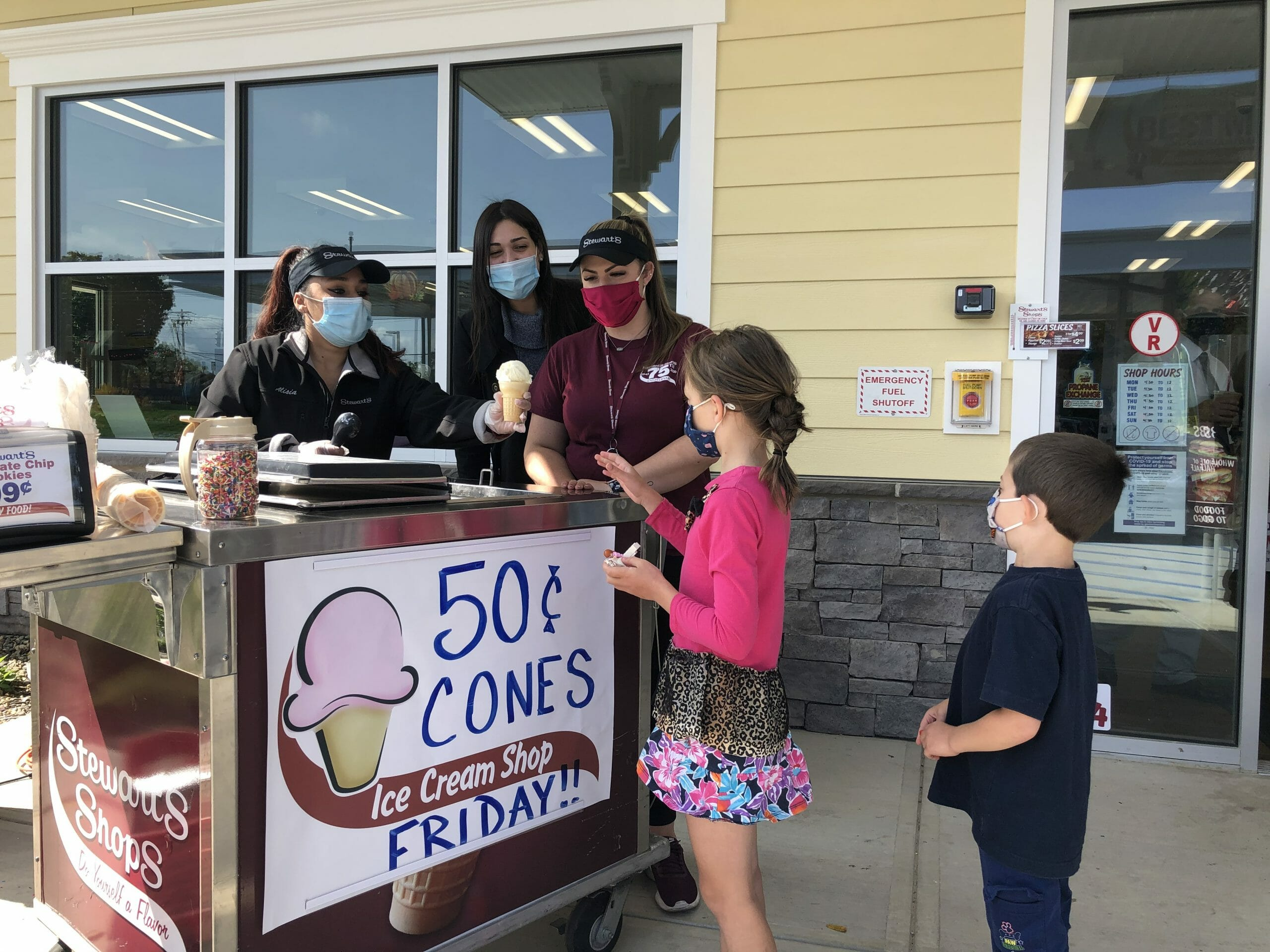 kids getting 50 cent cones