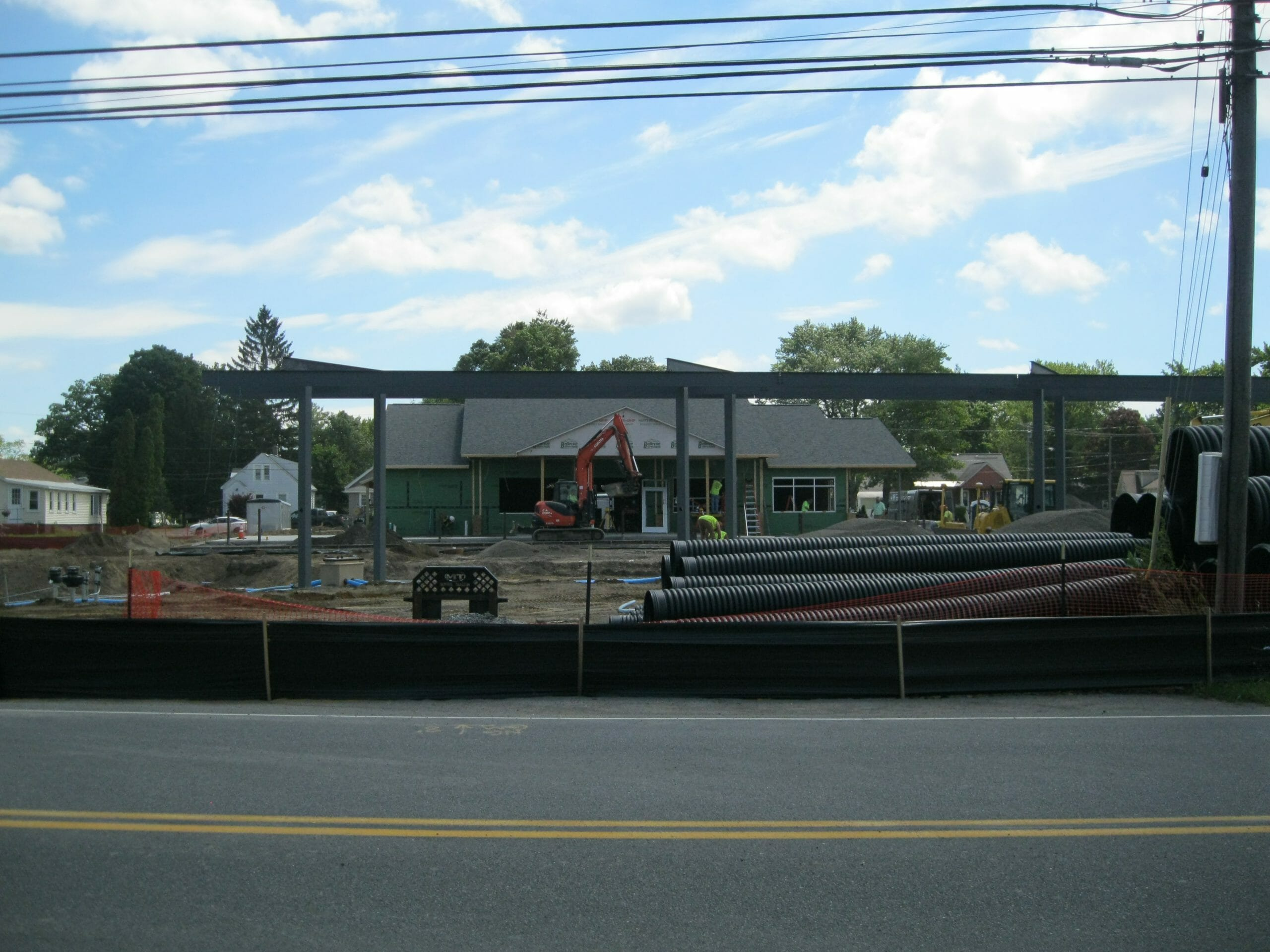 Stewart's shop and gas canopy under construction