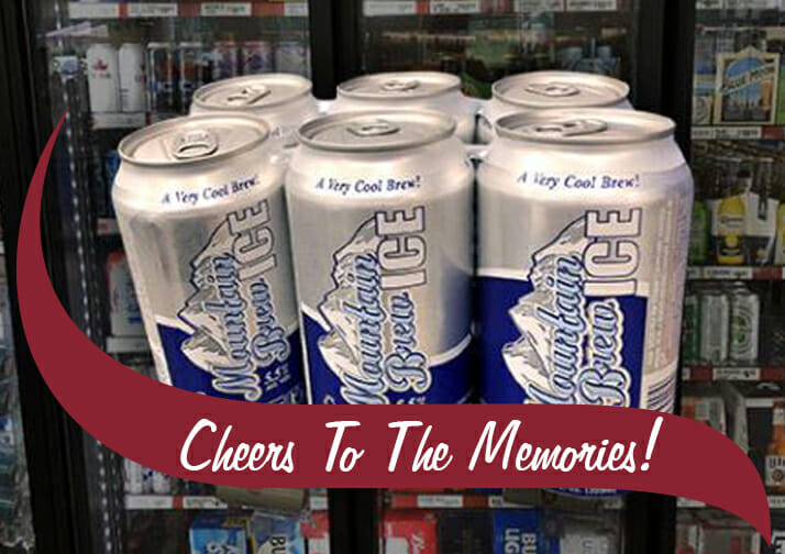 Mountain Brew cans with message Cheers to the Memories