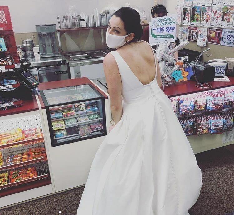 bride at register