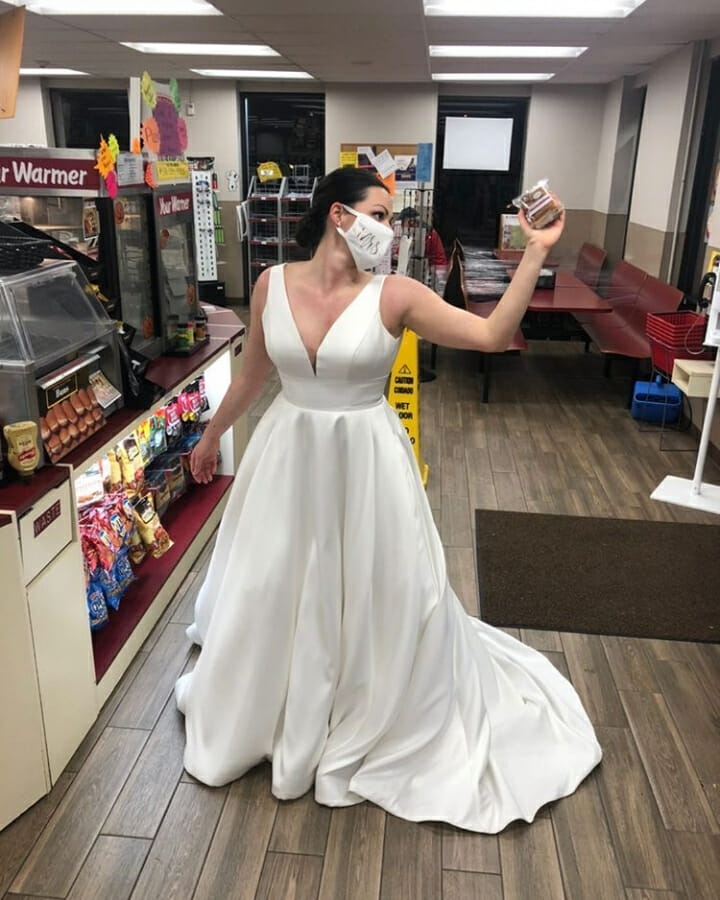 bride holding pint