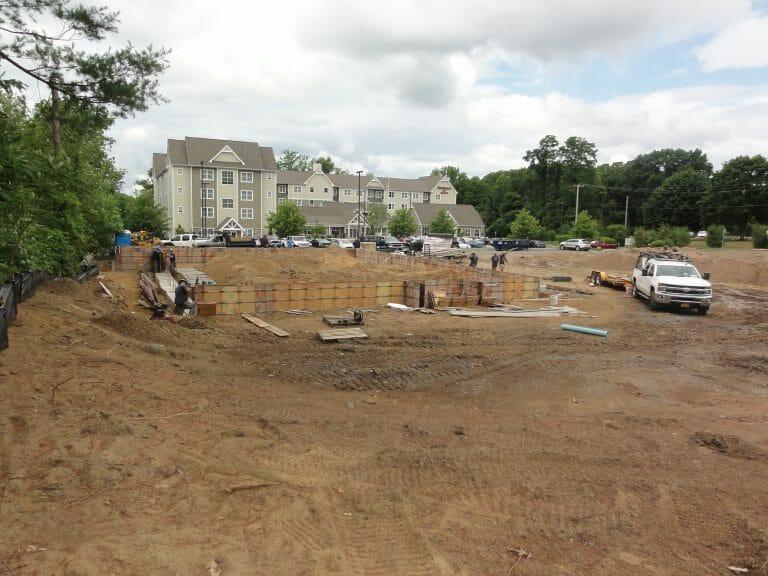 Foundation of Stewart's being built