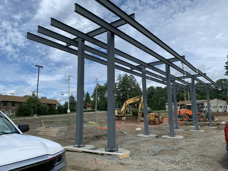 gas canopy being constructed