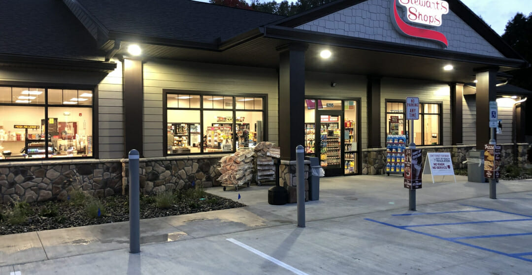 Exterior of new store at night