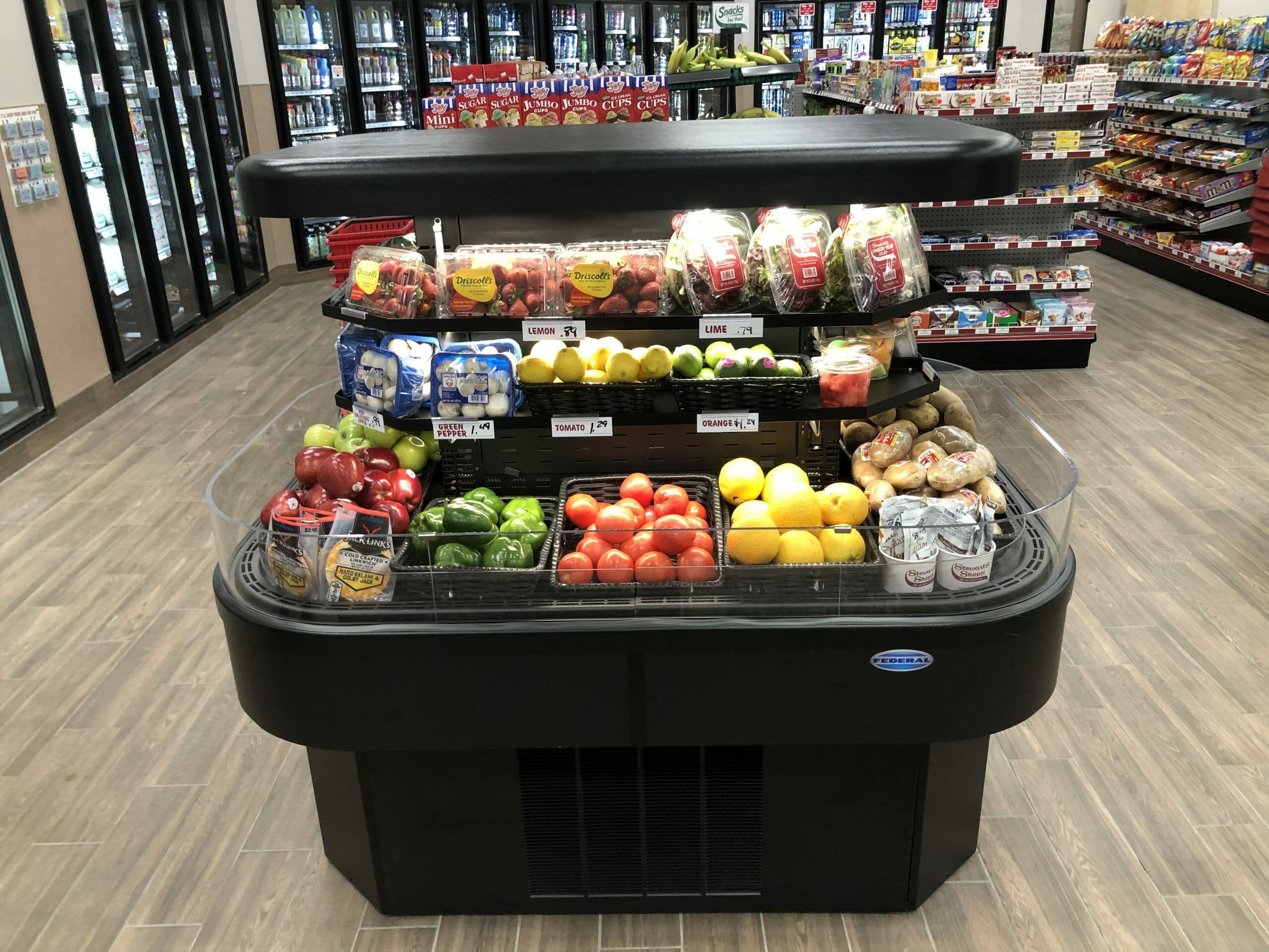 Open fruit and veggie refrigerator