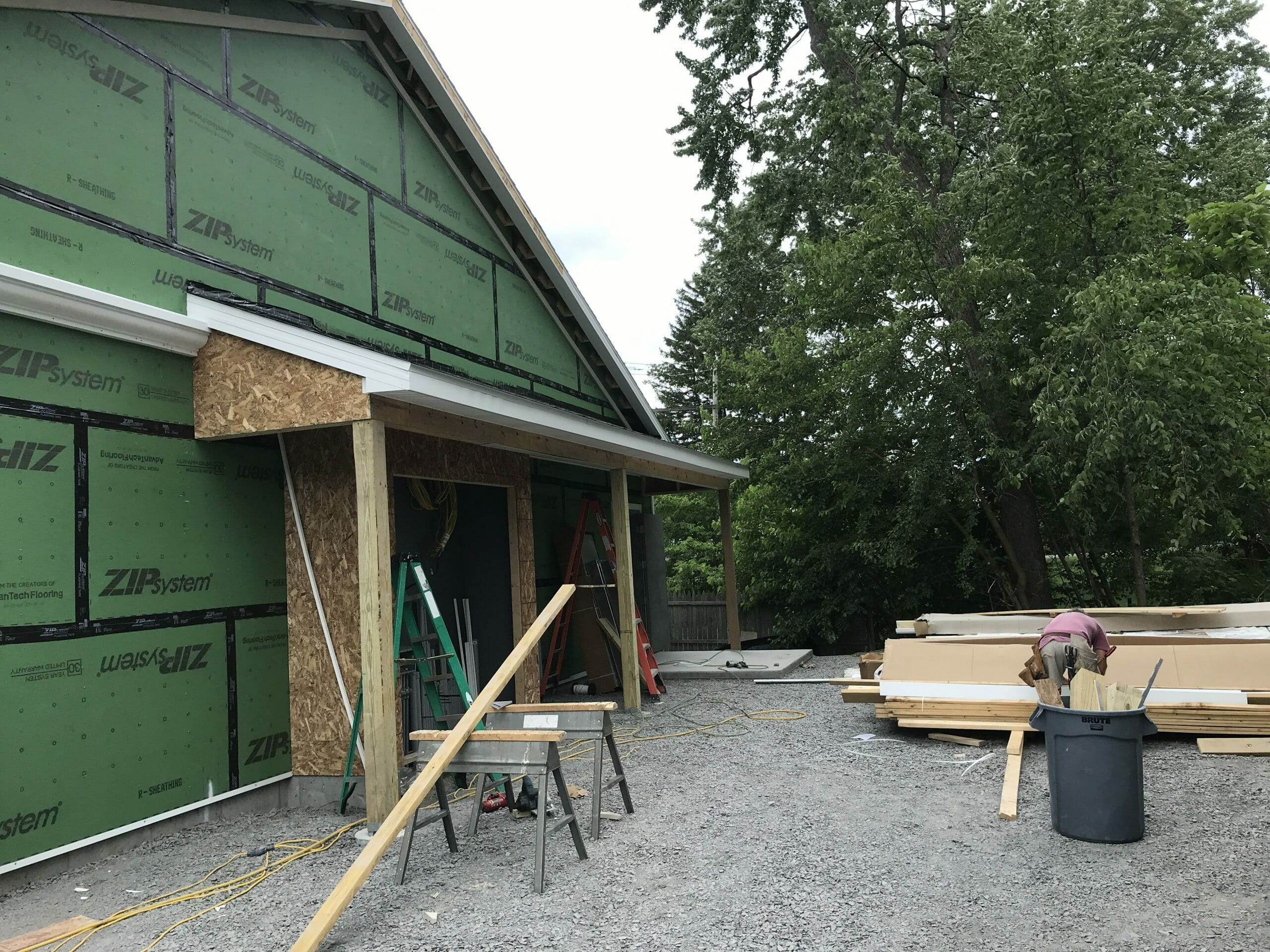 Stewarts Shop being constructed