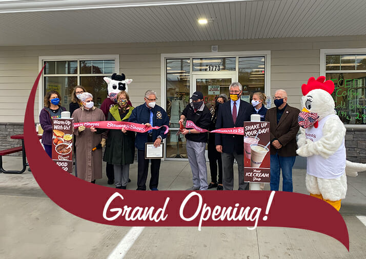 Ribbon cutting at the new state street stewarts shop in schenectady ny. Grand Opening in text.