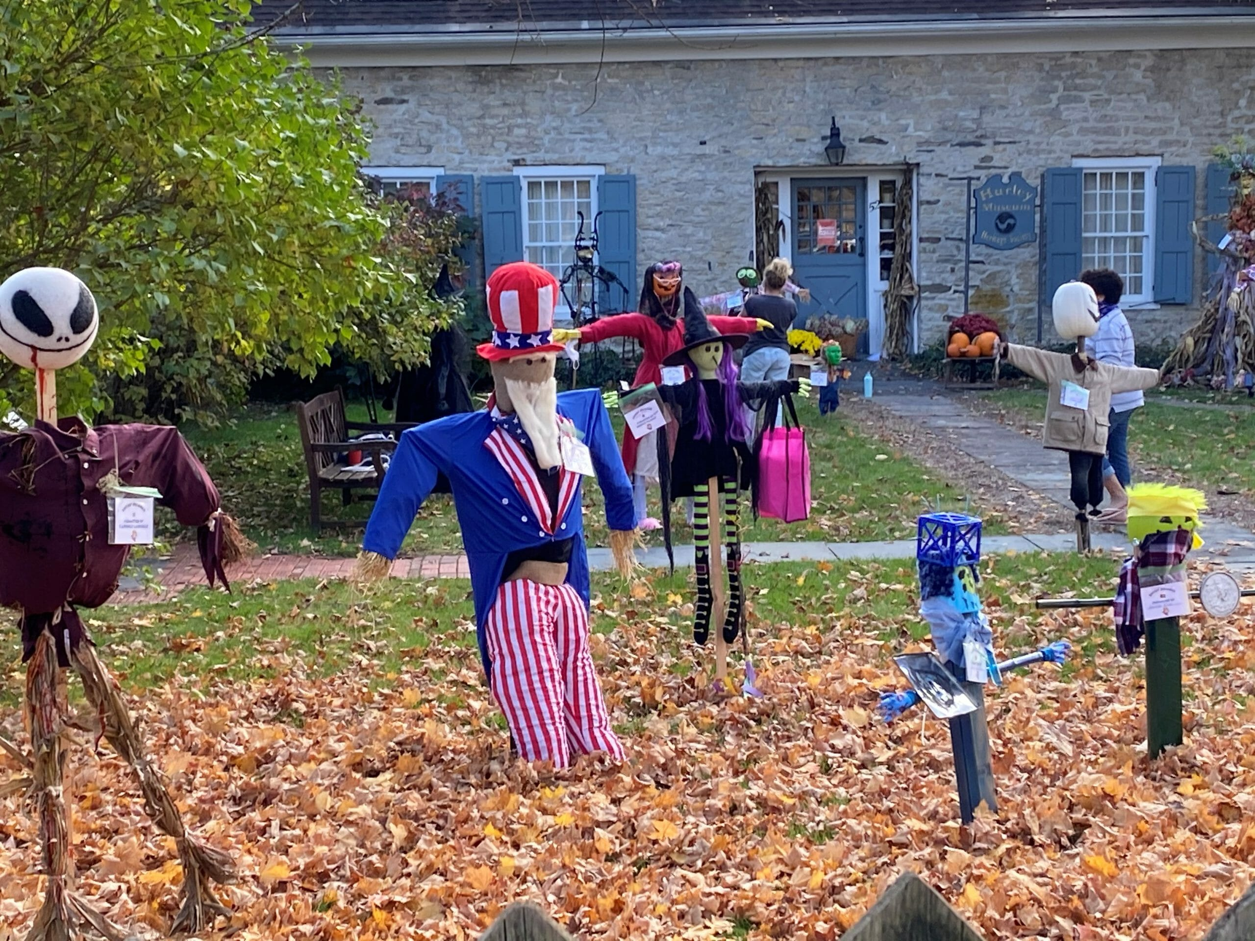 Scarecrows on the lawn at the Hurley Heritage Society