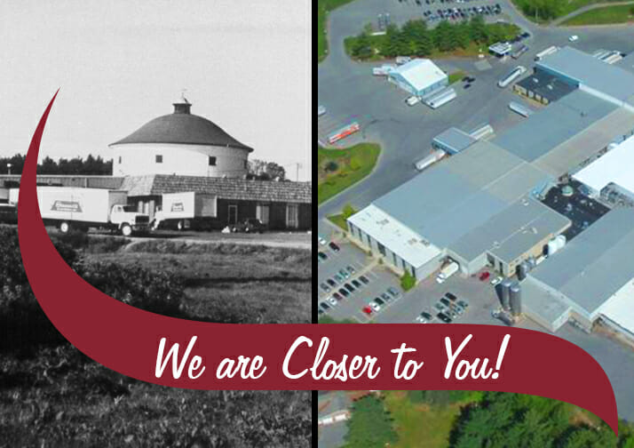 A slit image of the old Stewarts plant and the current stewarts plant. We are closer to you written in the logo wave.