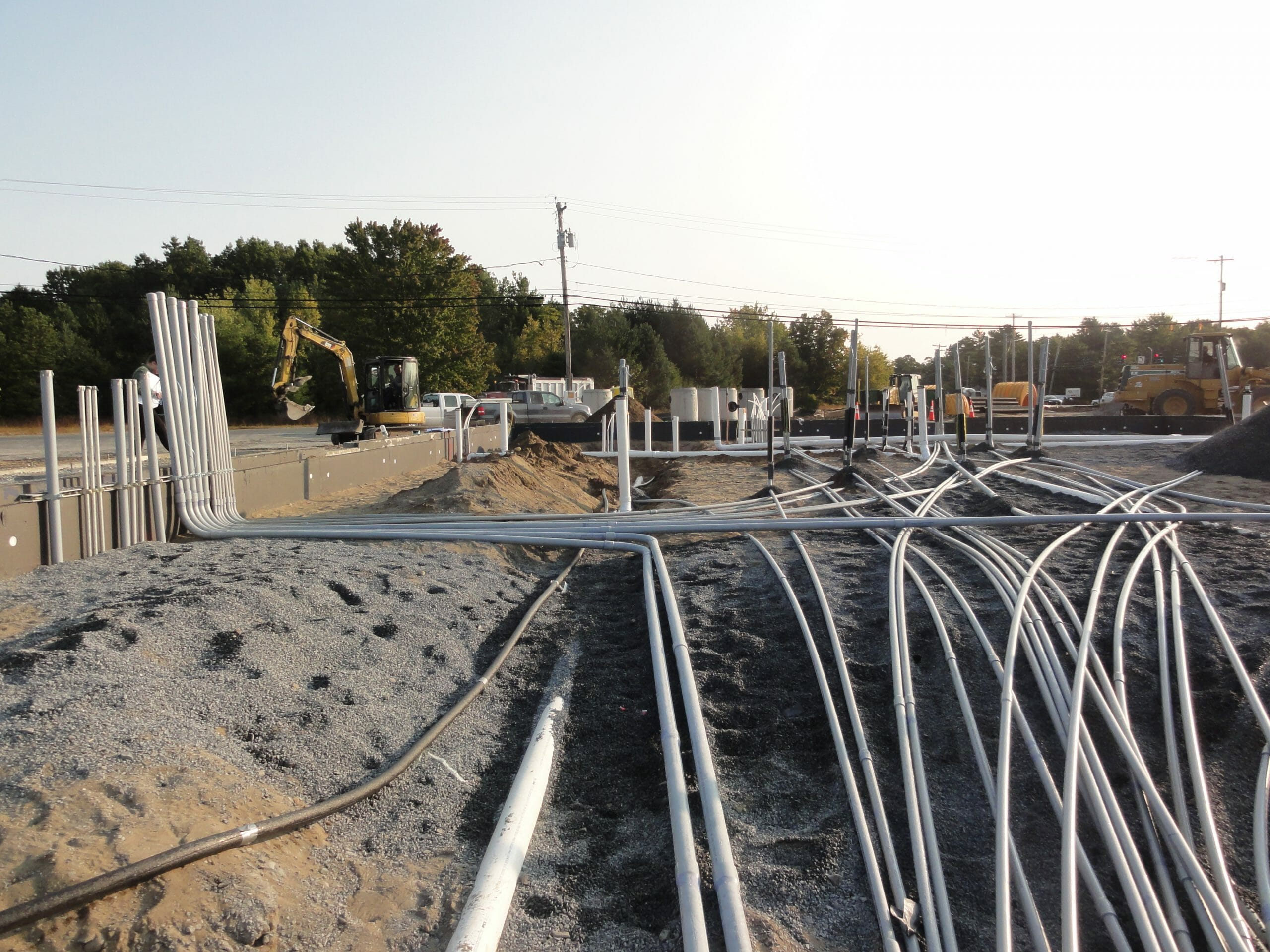 Pipes laid before concrete