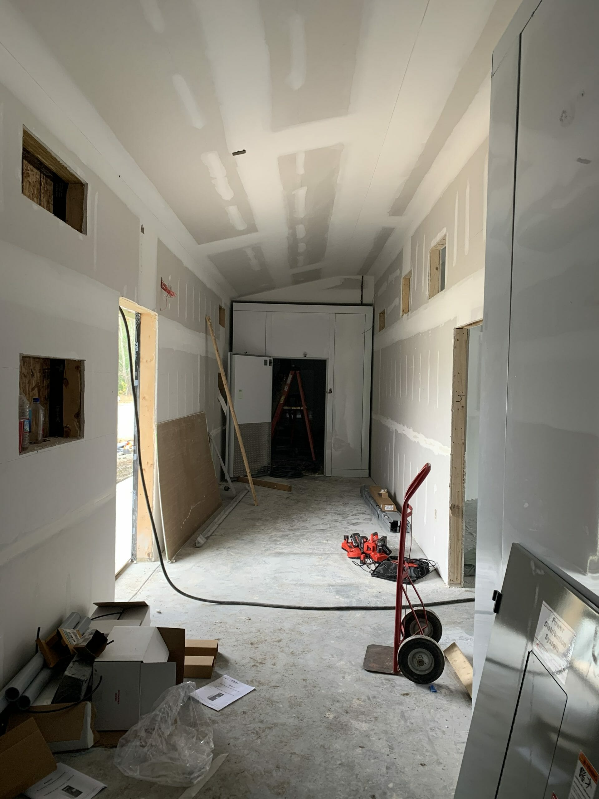 Back room with unfinished drywall