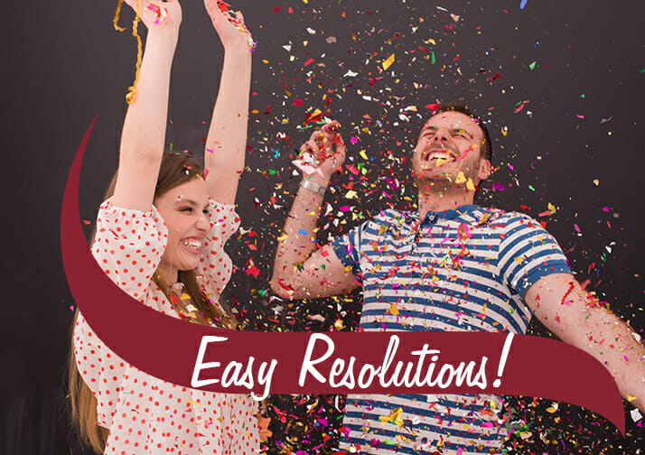 Happy couple with celebrating Easy resolutions