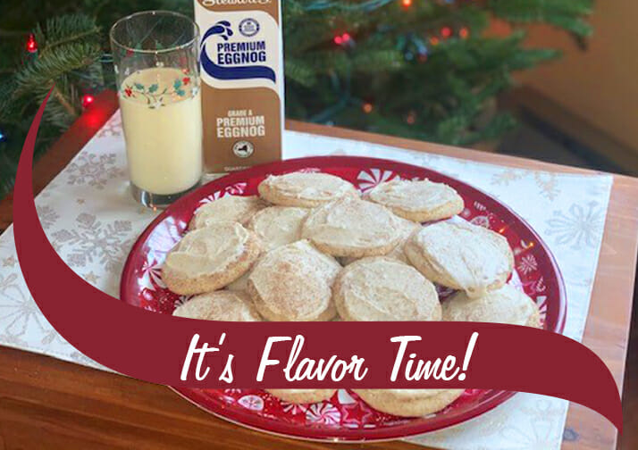 """Eggnog Snickerdoodle cookies with an """"It's flavor time!"""" wave"""