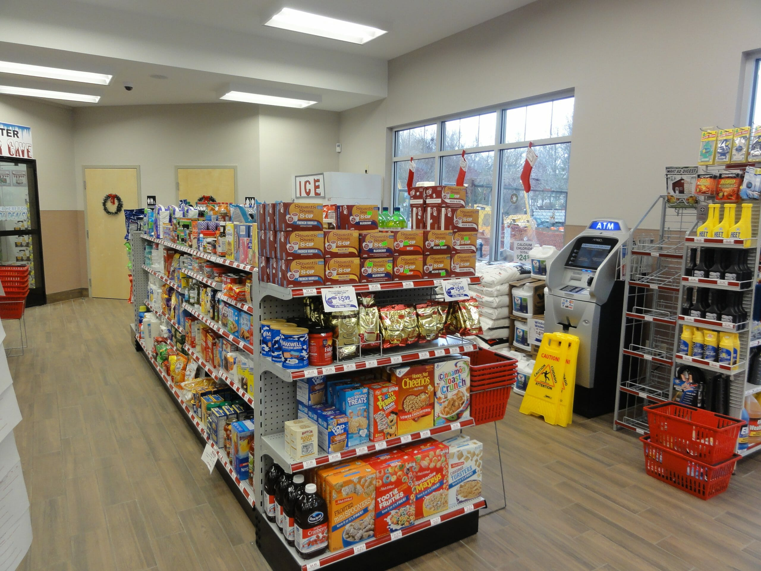 Grocery aisles in Stewarts Shop