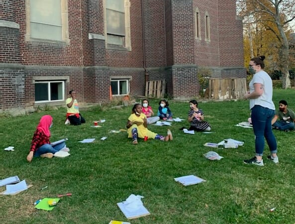 RISSE students in their outdoor classroom