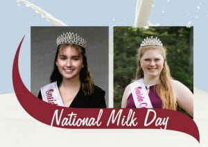 National Milk Day. Two Dairy Princesses and a splash of milk