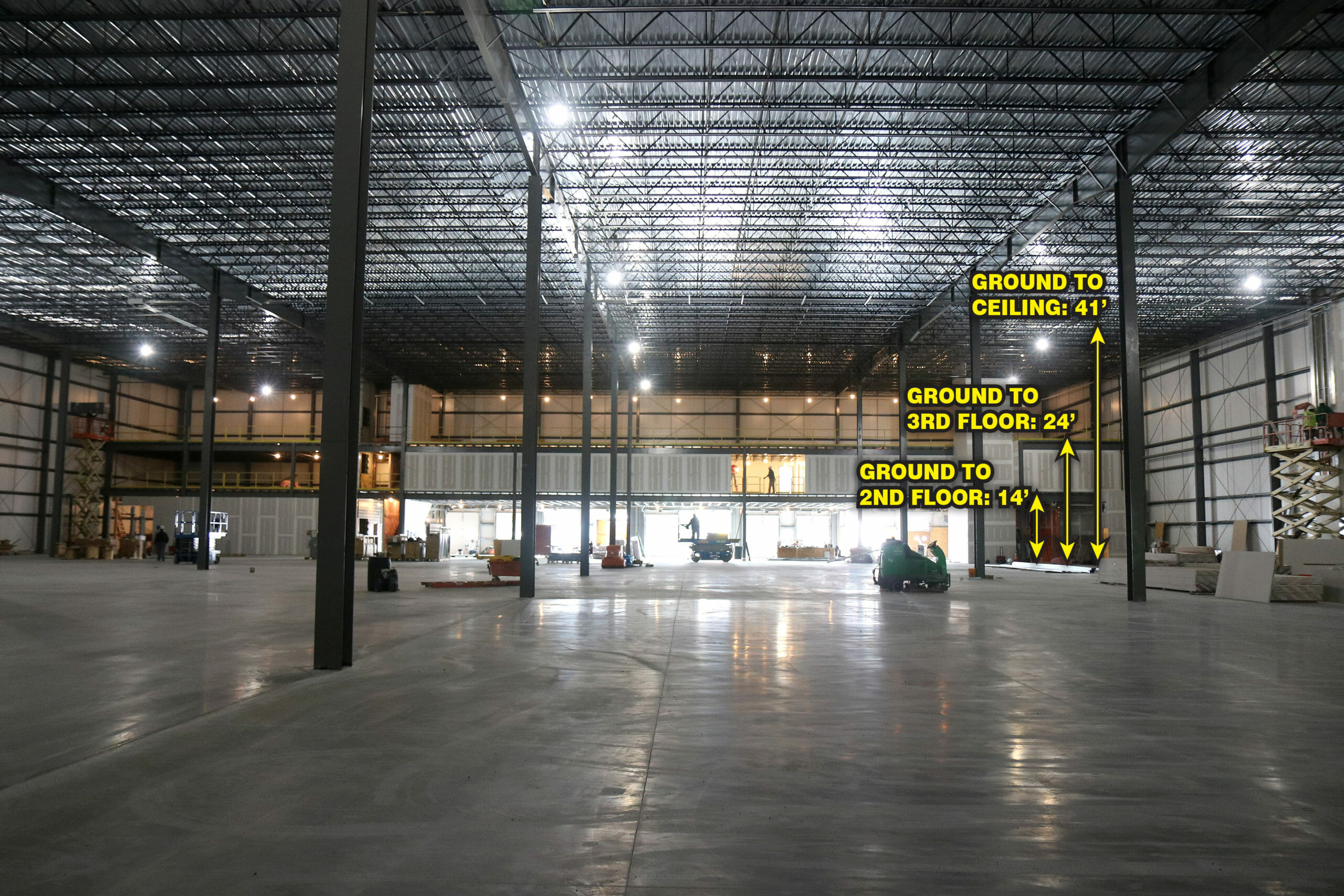 interior of stewarts plant expansion project. Ground to celiling 41 feet, ground to 3rd floor 24 feet, ground to 2nd floor 14 feet.