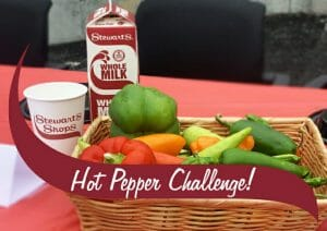 Stewart's milk and a basket of peppers