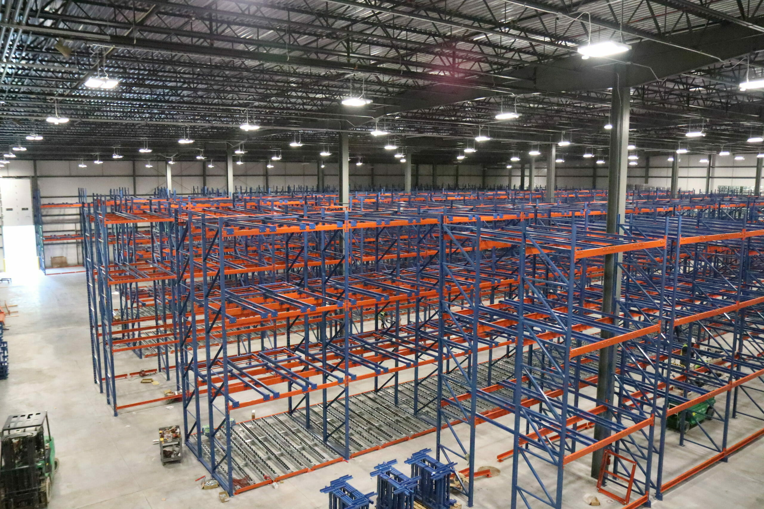 The empty racks in the new plant expansion