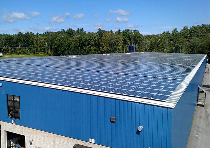 solar panels on the roof of the stewarts plant