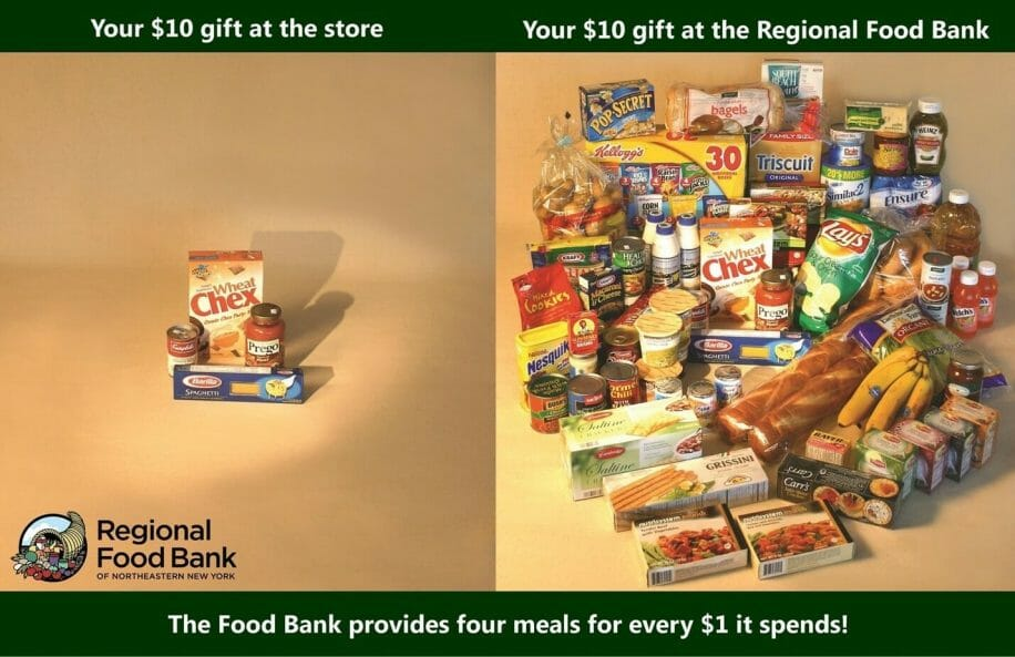 showing what 10 dollars can do at a store verses a food pantry