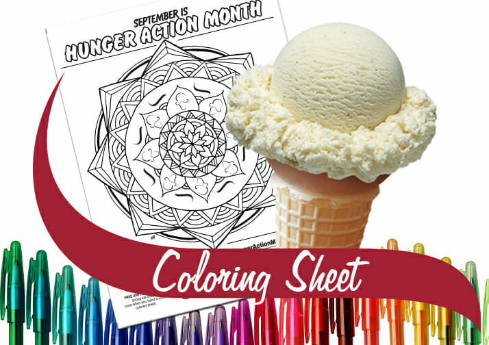 Coloring sheet with a single scoop cone.