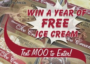Win a free year of ice cream! Text MOO to 55678 to join and enter the giveaway.